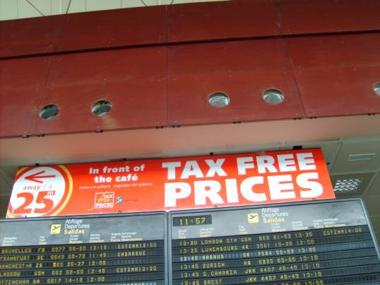 Tenerife taxfree airport